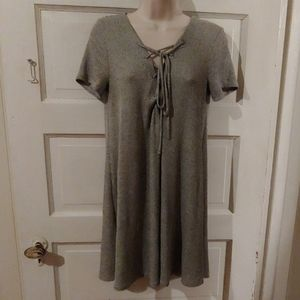 Forever 21 Short Sleeve Gray Lace Up Dress S